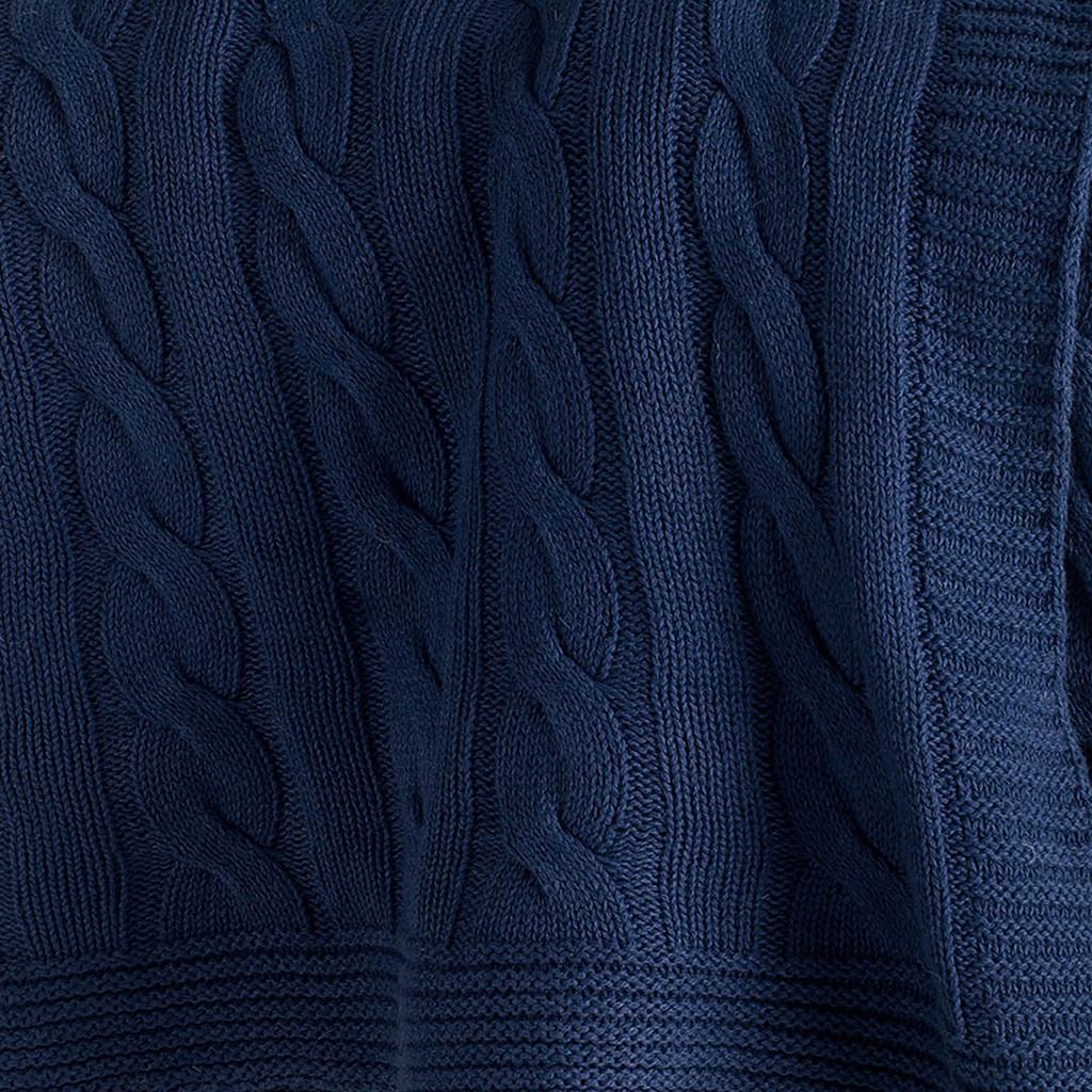 Indigo Sea Cable Knit Cotton Throw close up