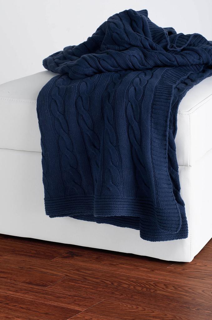 Indigo Sea Cable Knit Cotton Throw