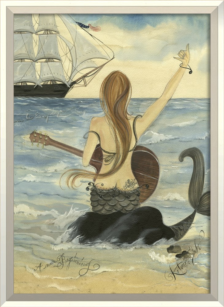 Let's Rock Mermaid Art - White Frame