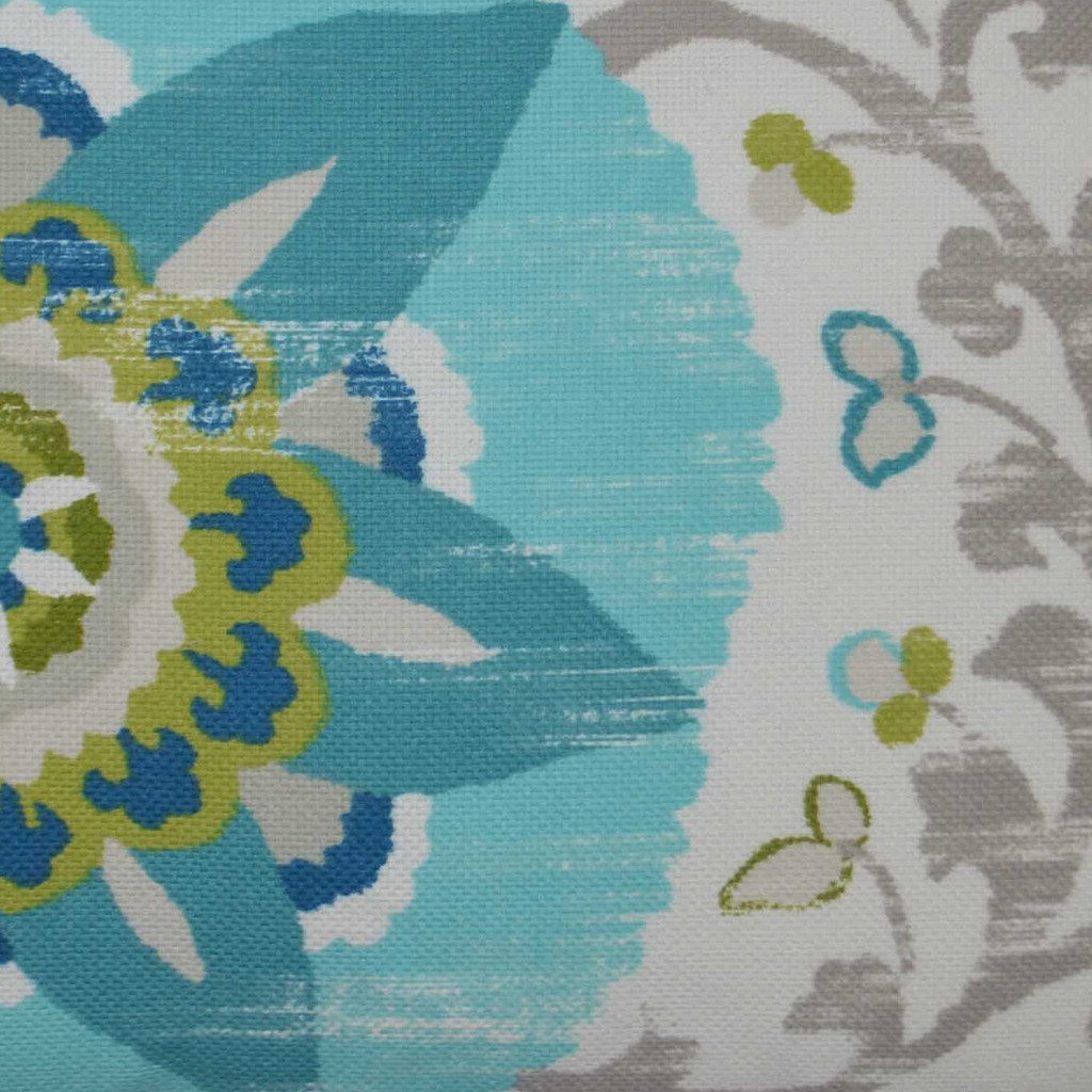 Cherai Turquoise and Lime 22 x 22 Pillow close up fabric