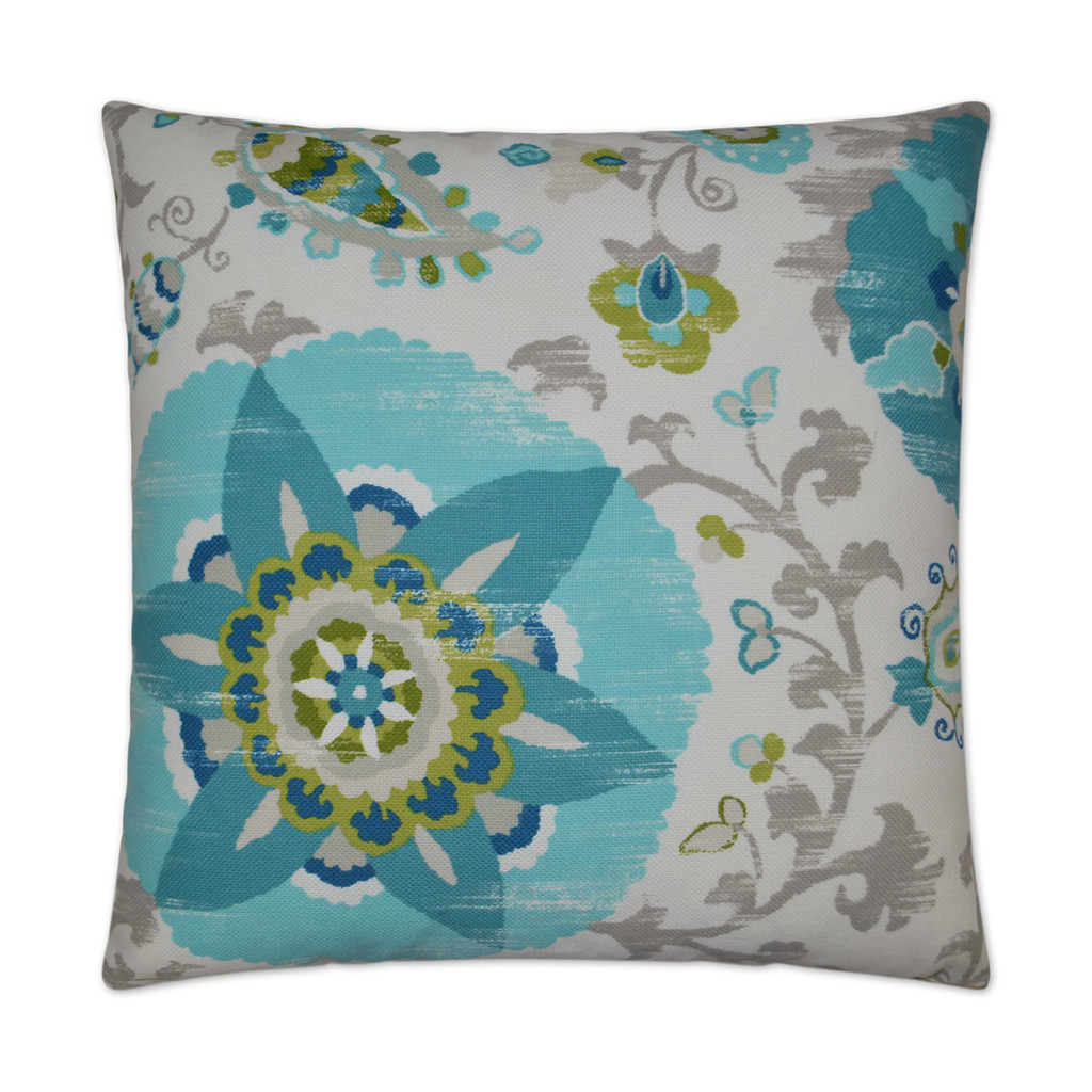 Cherai Turquoise and Lime 22 x 22 Pillow