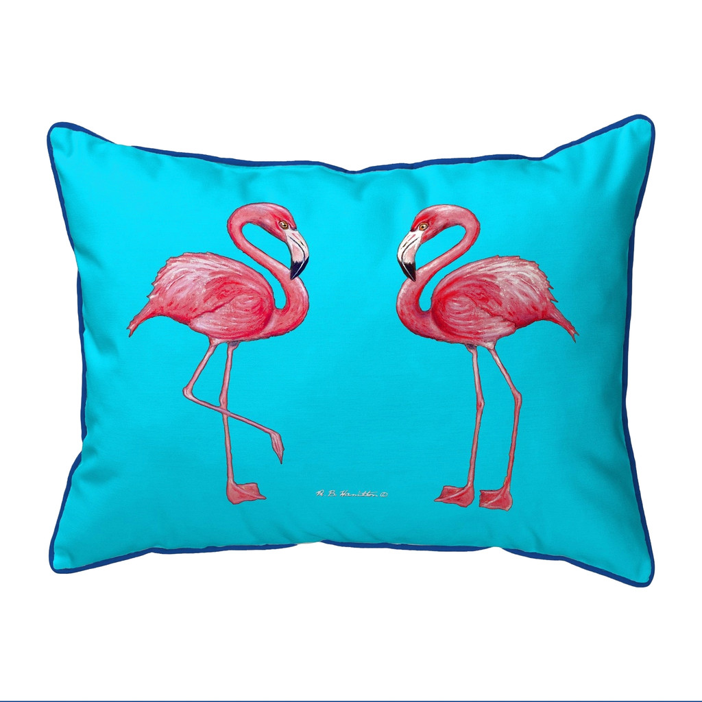 Bright Pink and Turquoise Twin Flamingos Pillow