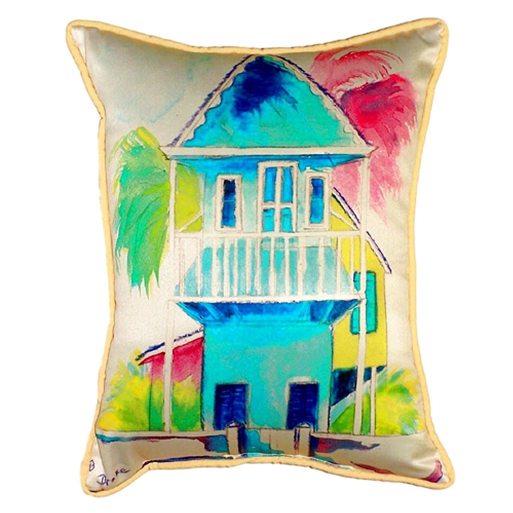 Key West Palm Blue Hut Pillow