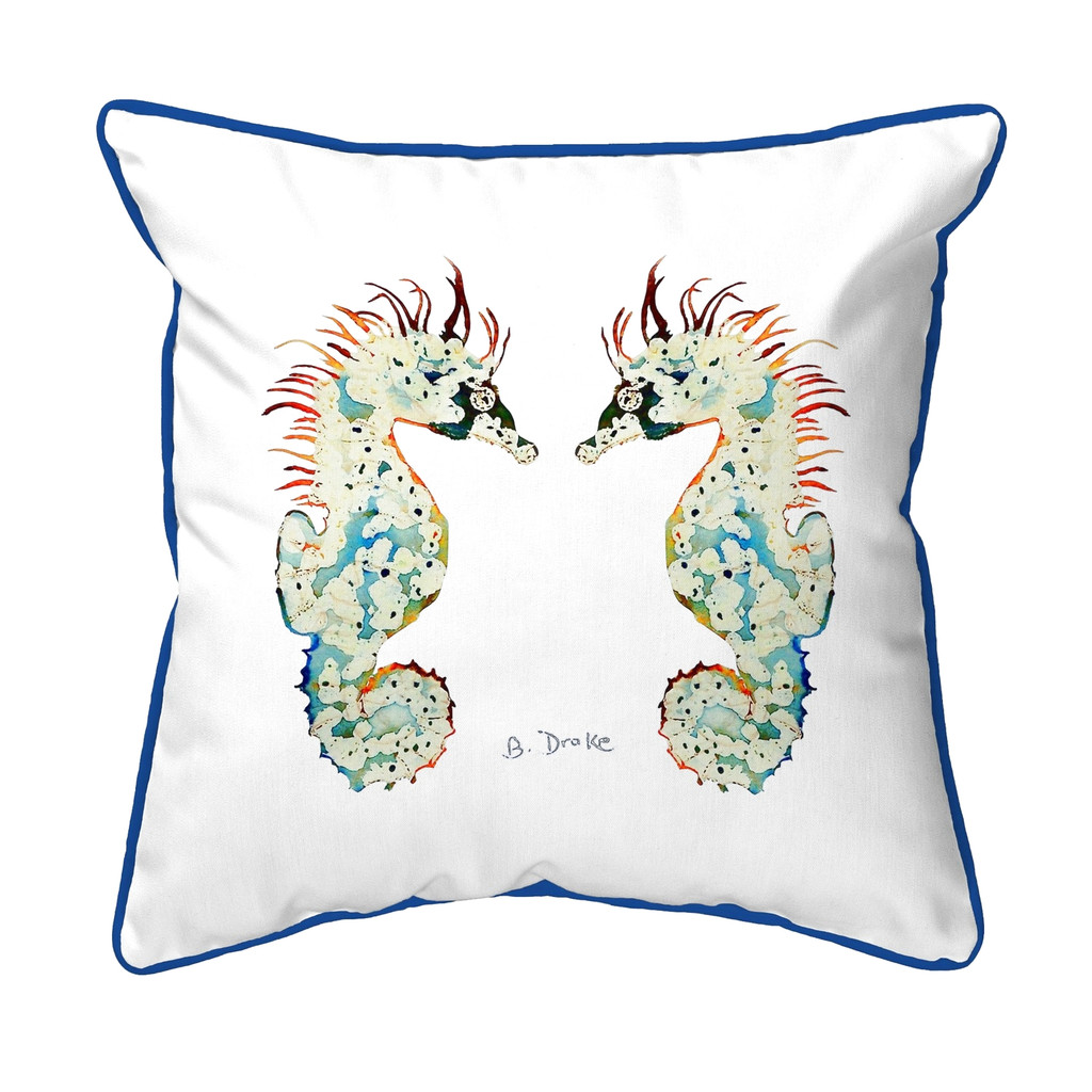 Betsy's Twin Seahorses White Background 18 x 18 Pillow