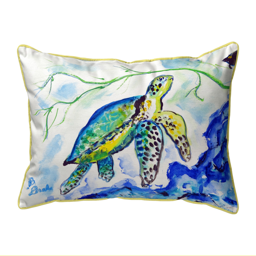 Yellow Sea Turtle Large Pillow 16x20