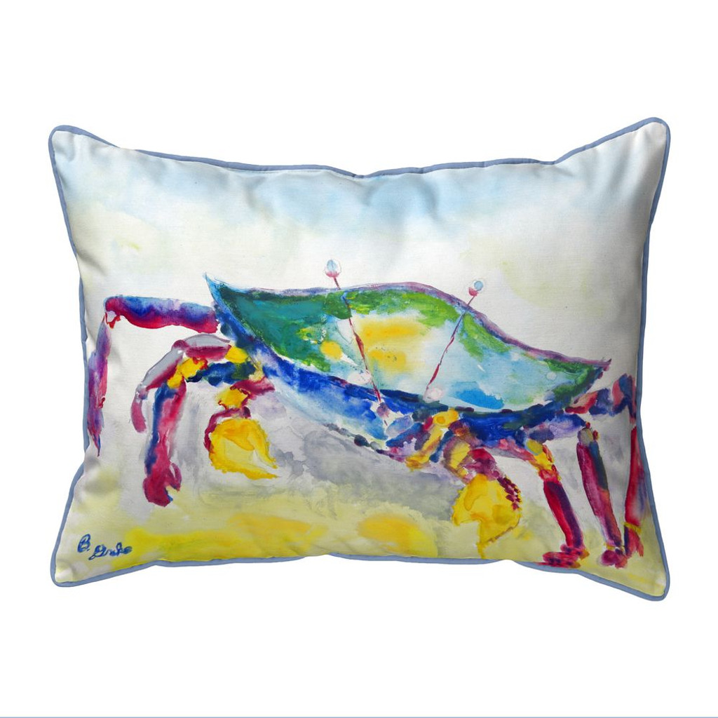 Crawling the Shore Colorful Crab 16 x 20 Pillow