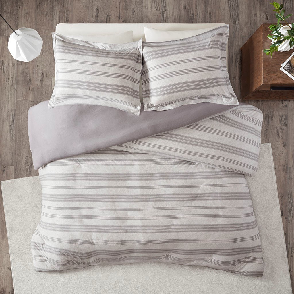 Colby Harbor Grey Stripe Queen Duvet Set view 2