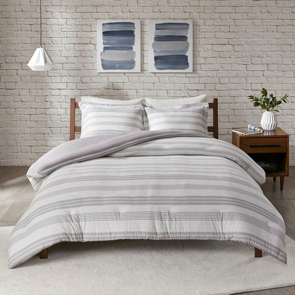 Colby Harbor Grey Stripe Queen Duvet Set view 3