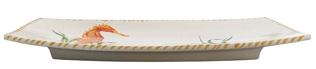 Seahorse Rectangle Serving Tray side view