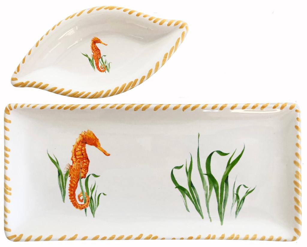 Seahorse Dip Bowl and Tray Set