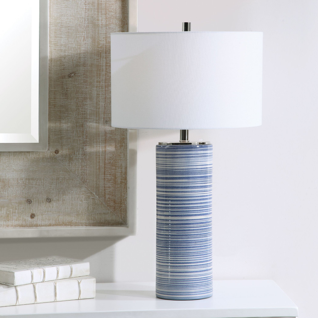 Montauk Sea Striped Table Lamp room view