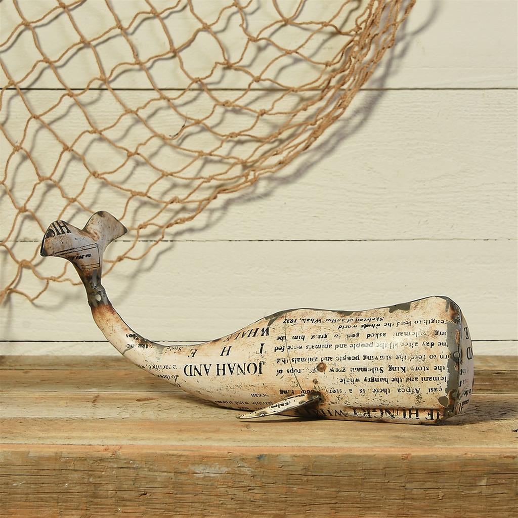 Reclaimed White Metal Whale - Large  room view