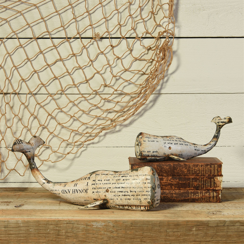 Reclaimed White Metal Whale - Large  with small whale