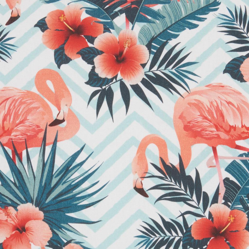 Life Styles Tropical Flamingos Pillow fabric close up