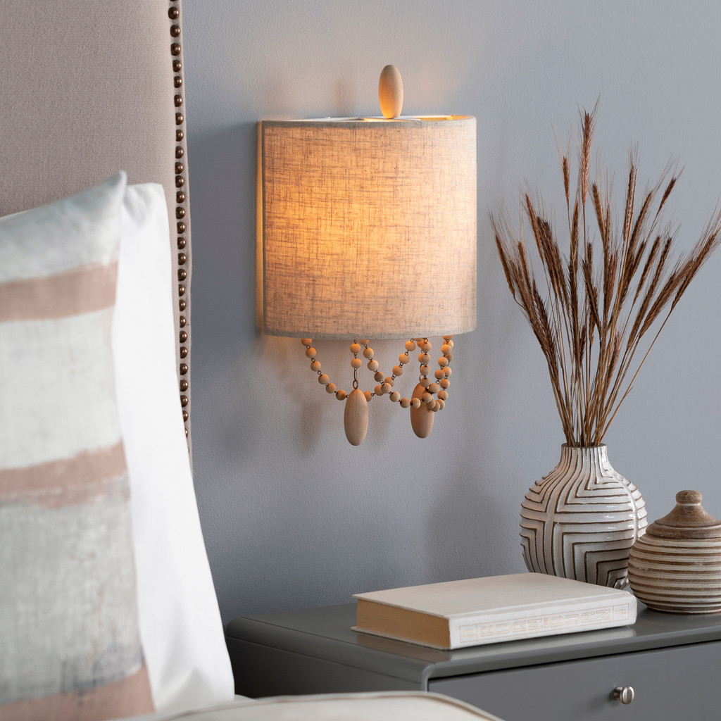 Emerlyn Beaded Wall Sconce bedside view light on