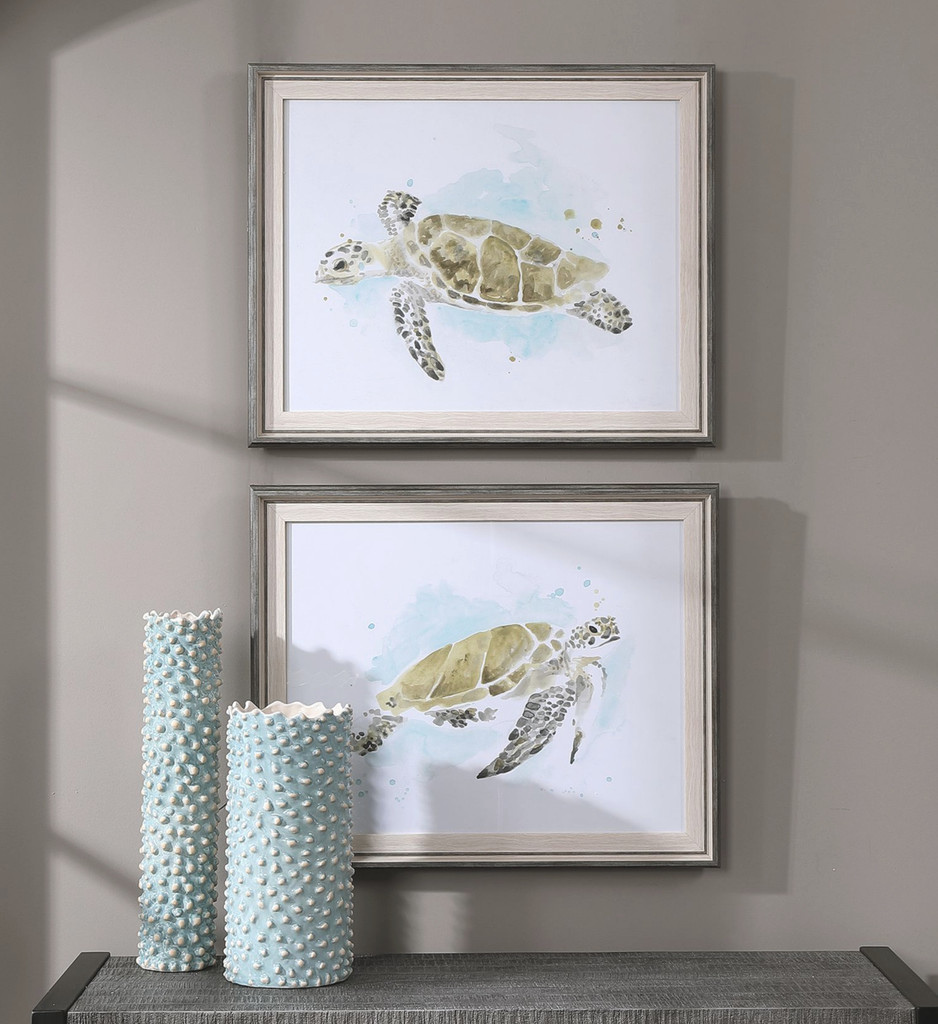 Fijian Reef Aqua Vases - Set of Two with sea turtle study art