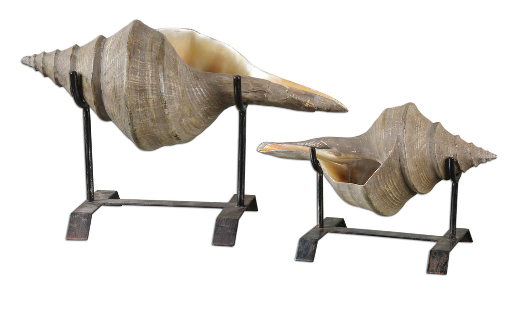 Conch Shell Tabletop Sculptures - Set of 2