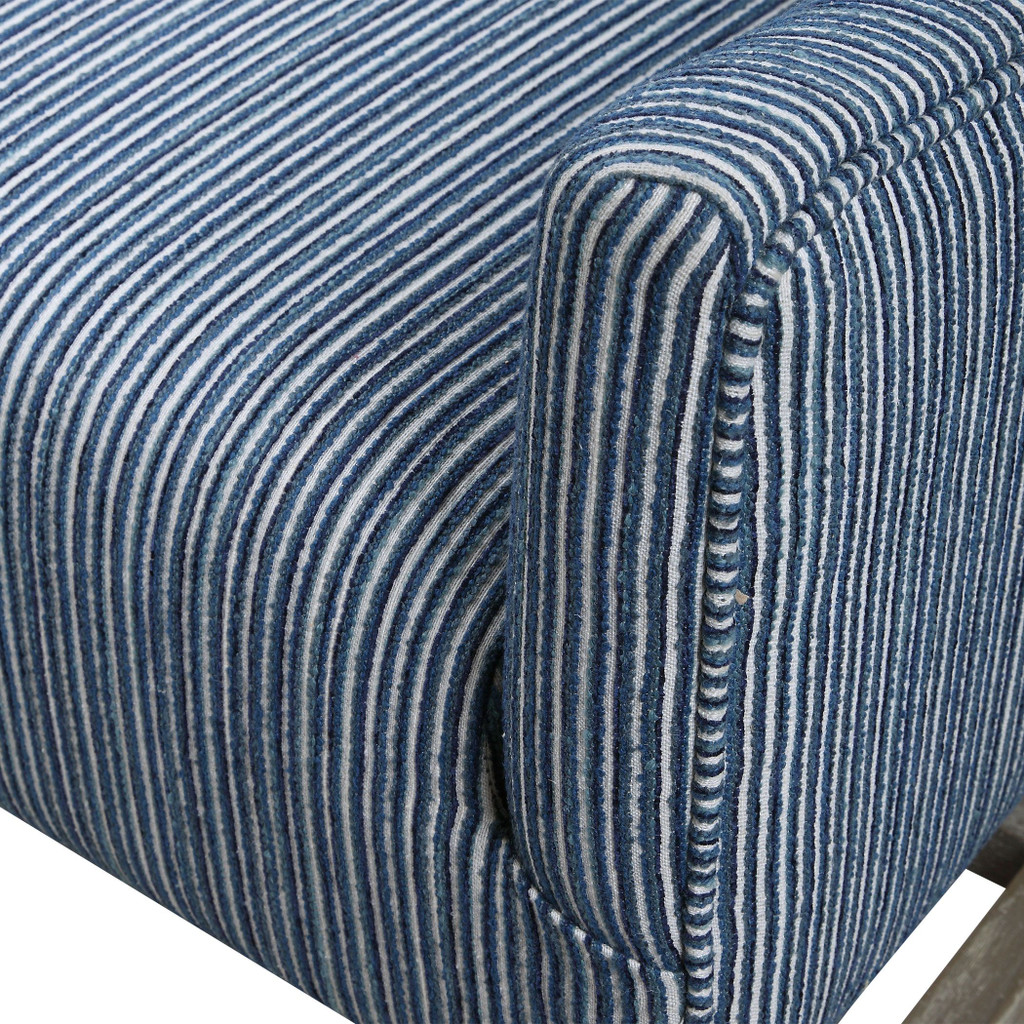 Galiot Striped Wingback Accent Chair close up fabric