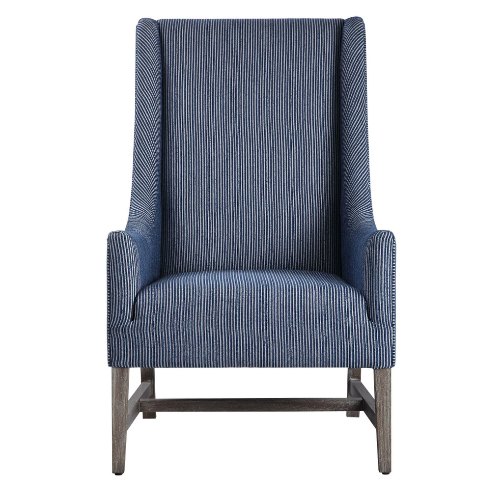 Galiot Striped Wingback Accent Chair front view
