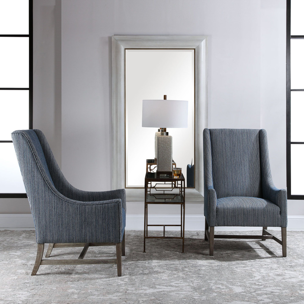 Galiot Striped Wingback Accent Chair room view 2