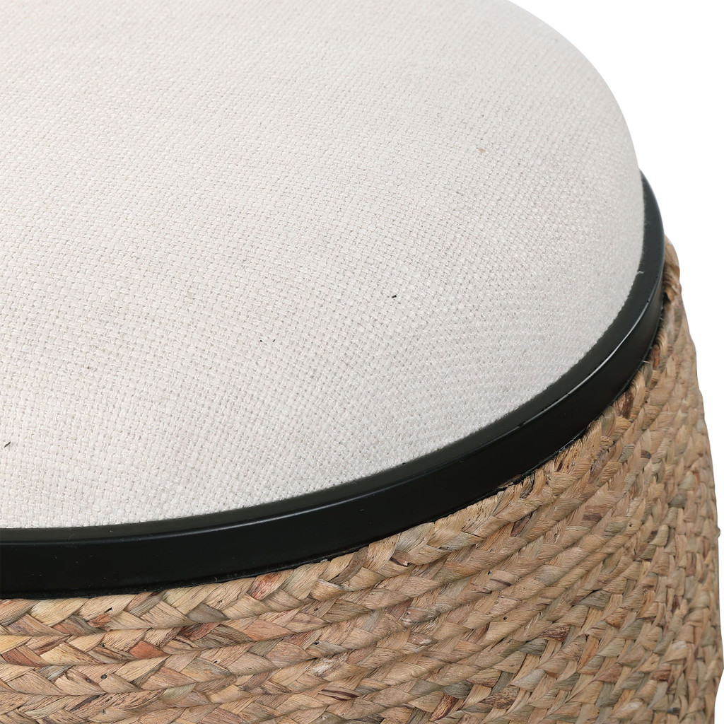Island Seagrass Wrapped Accent Stool close up tufted top