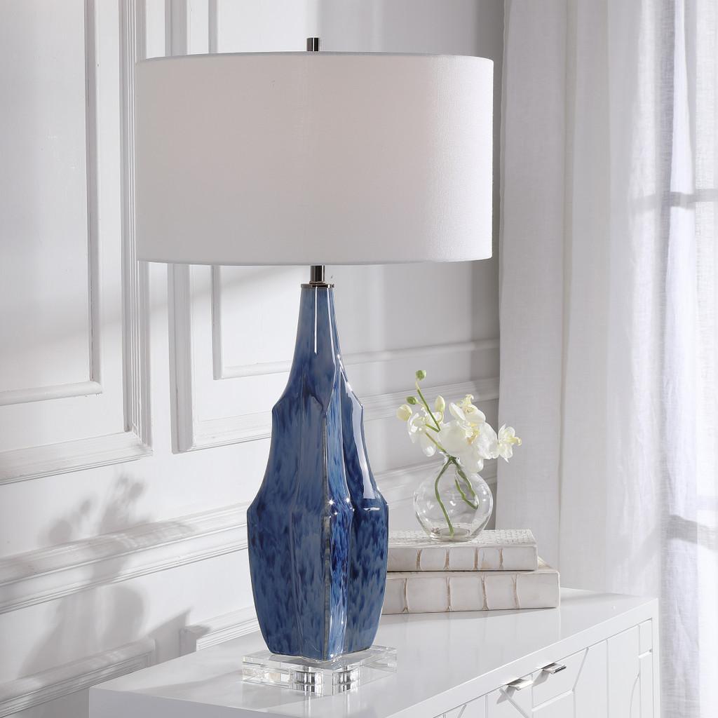 Everett Blue Glaze Table Lamp room view