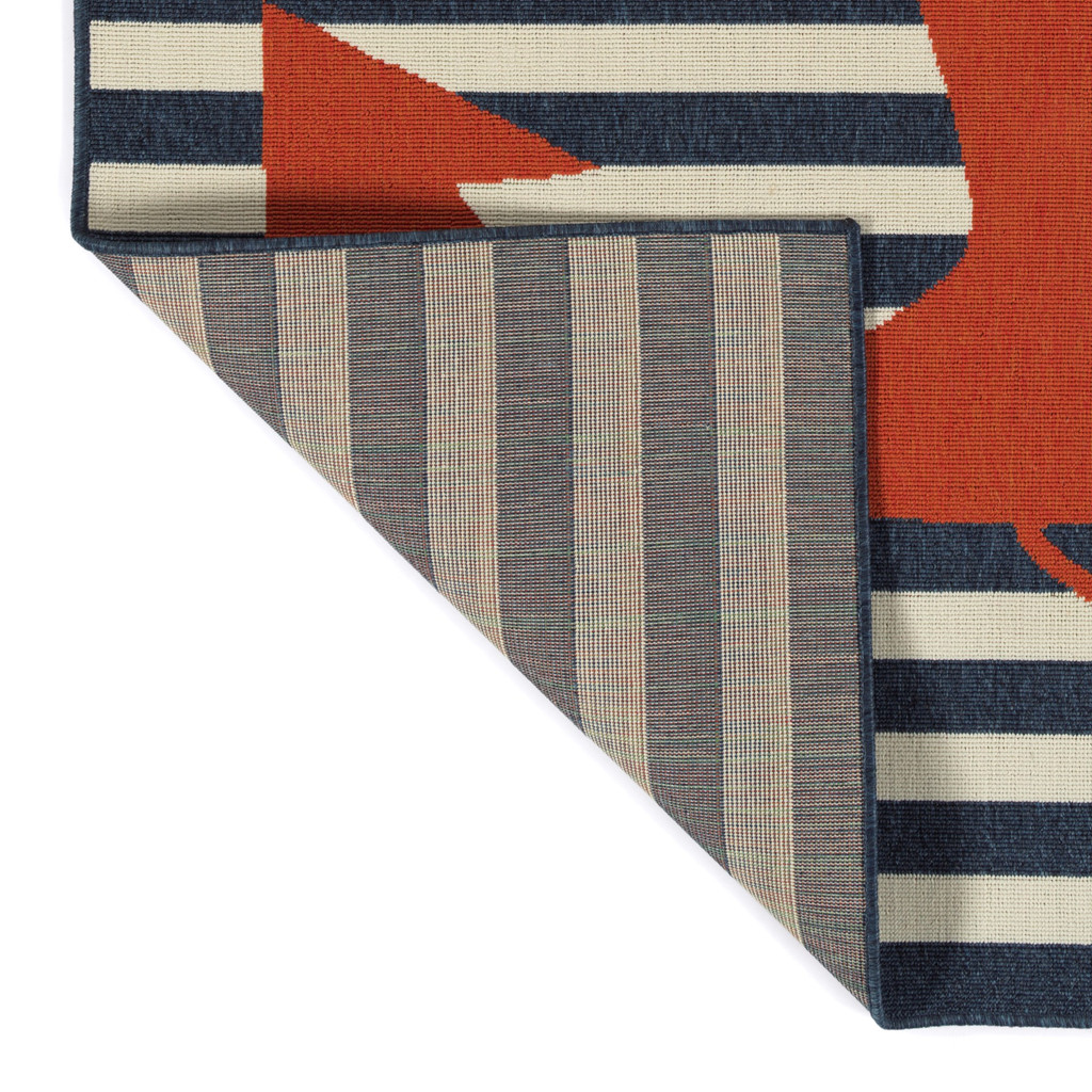 Red and Blue Striped Anchors Aweigh Rug backing