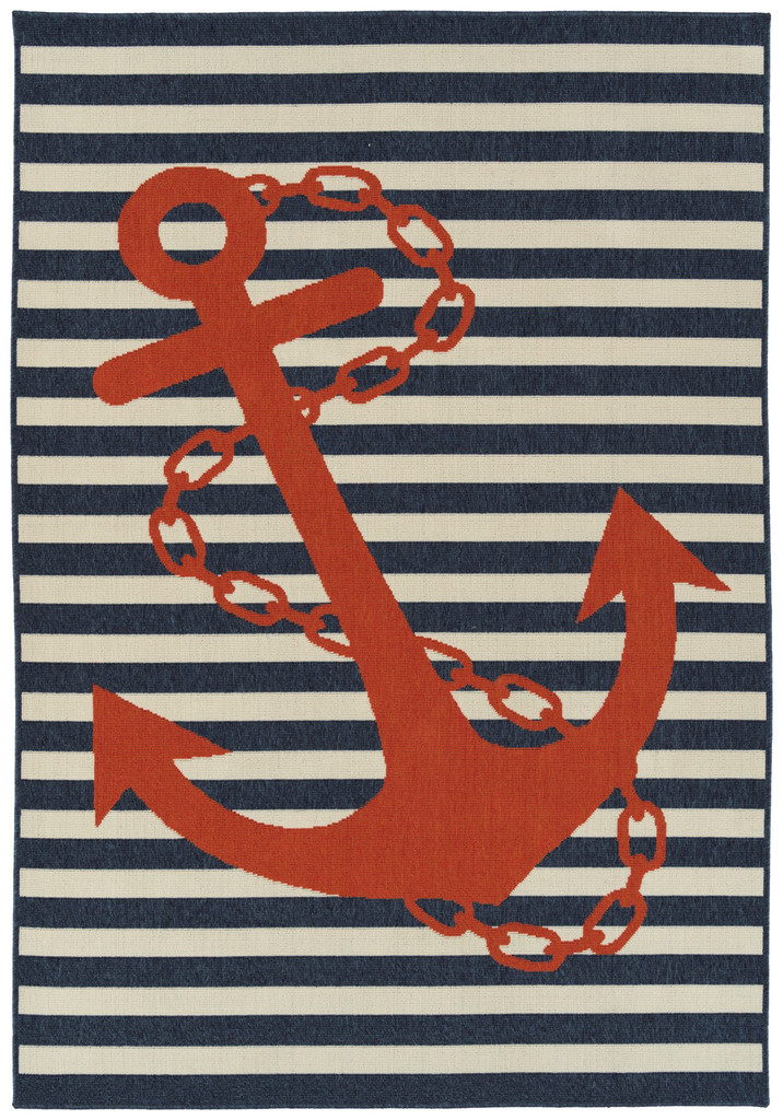 Red and Blue Striped Anchors Aweigh Rug