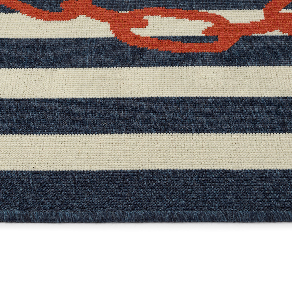 Red and Blue Striped Anchors Aweigh Rug pile
