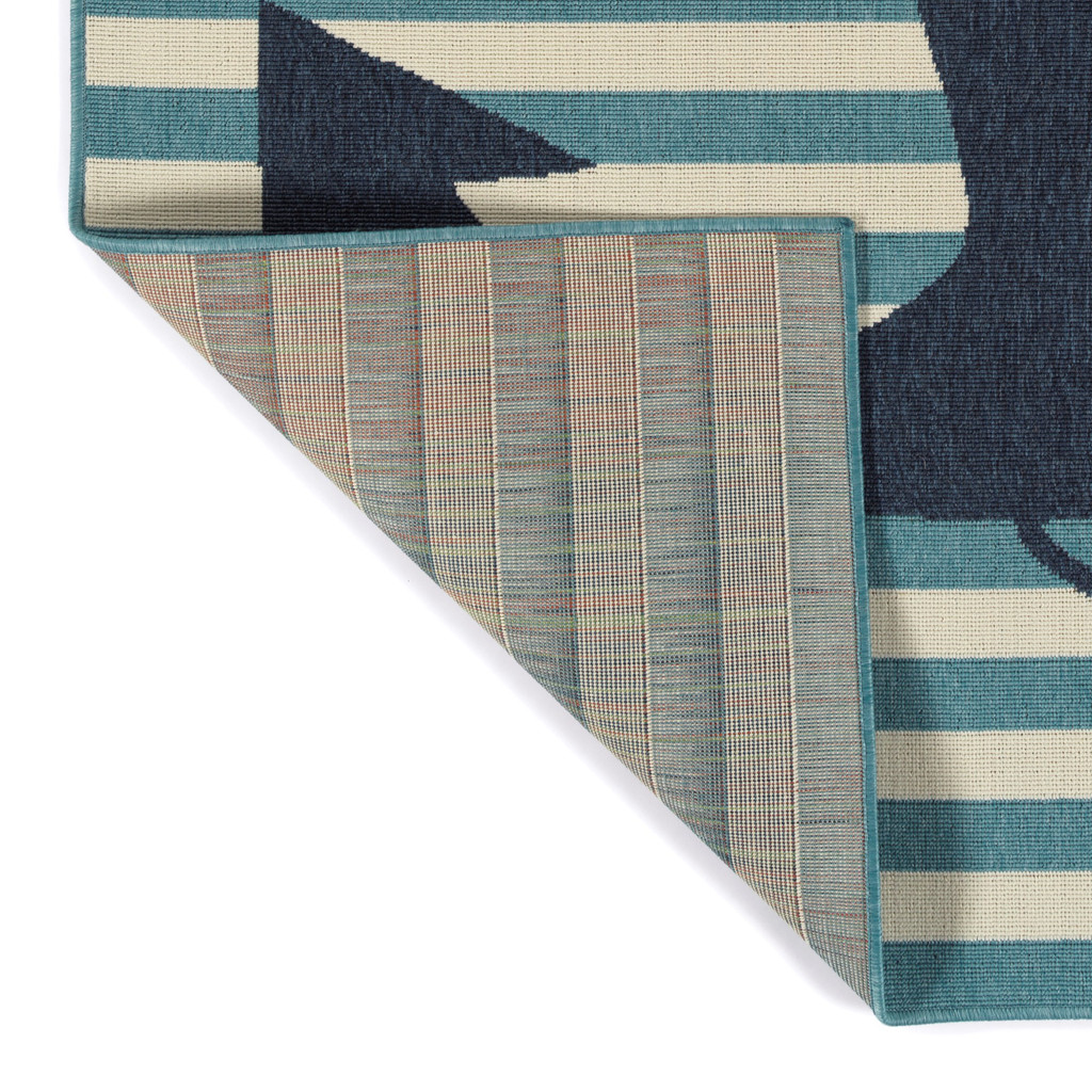 Navy and Light Blue Striped Anchors Aweigh Rug corner and backing