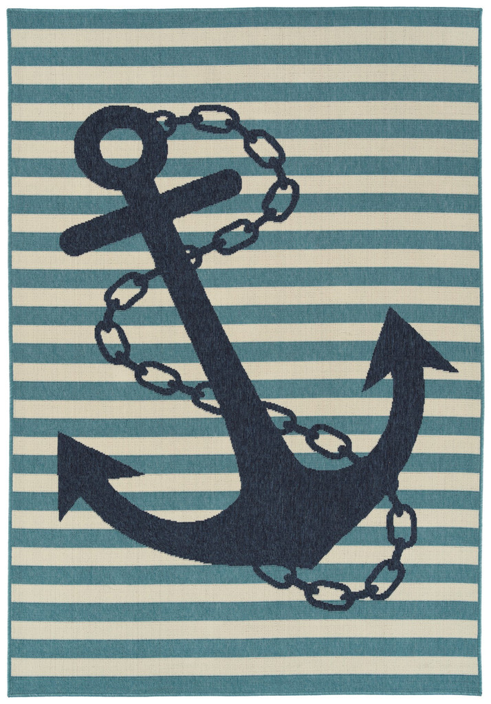 Navy and Light Blue Striped Anchors Aweigh Rug