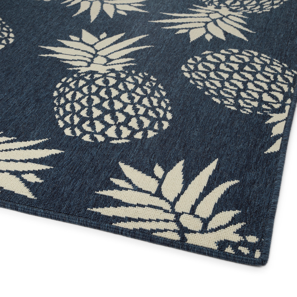 Navy Blue Pineapple Party Rug corner