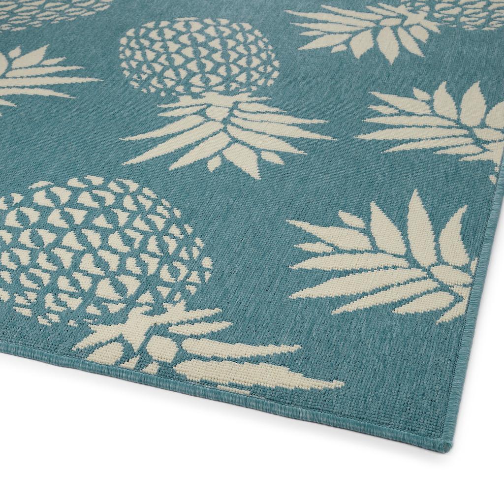 Light Blue Pineapple Party Rug corner image