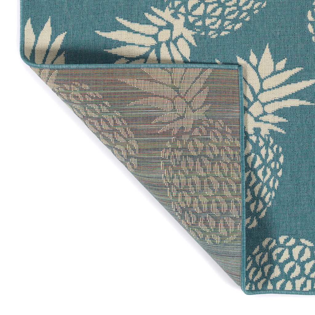 Light Blue Pineapple Party Rug backing