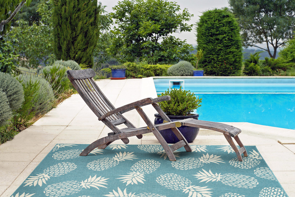 Light Blue Pineapple Party Rug outdoor room