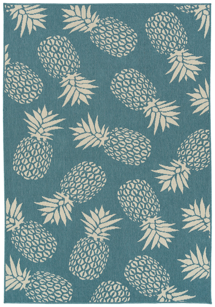 Light Blue Pineapple Party Rug