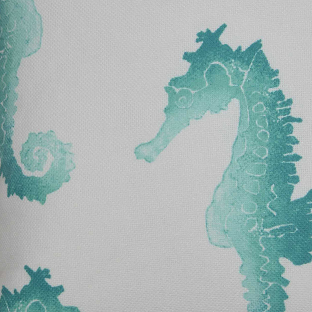 Turquoise Swimming Seahorse Luxury Outdoor Pillow close up