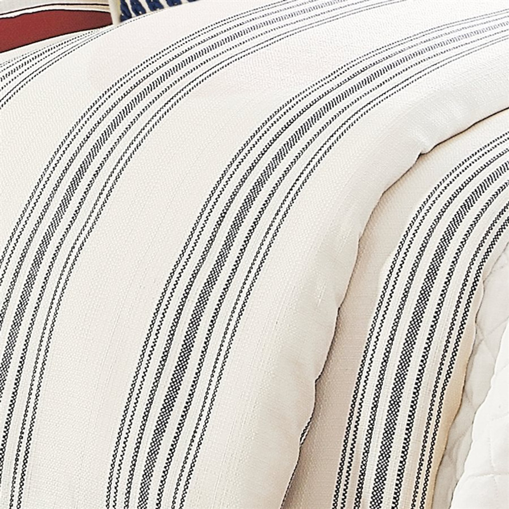 close up Prescott Navy Ticking Striped Duvet King Size Set