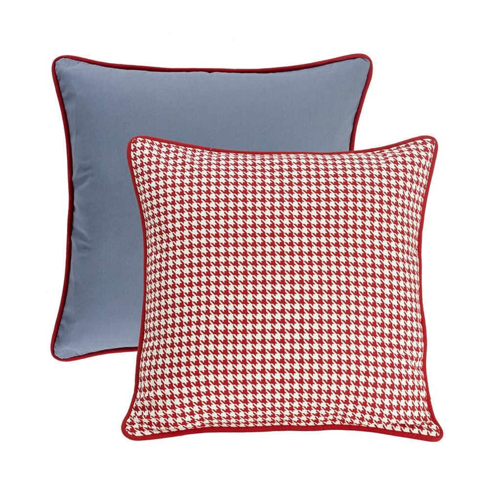 Chambray Blue and Red Houndstooth Euro Sham