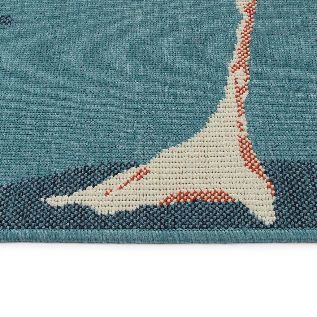 Light Blue Twin Flamingos Rug edge