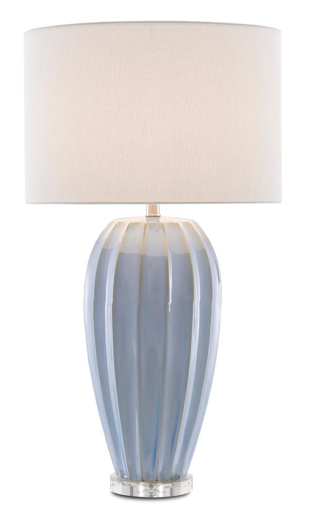 Blue Star Porcelain Table Lamp light on