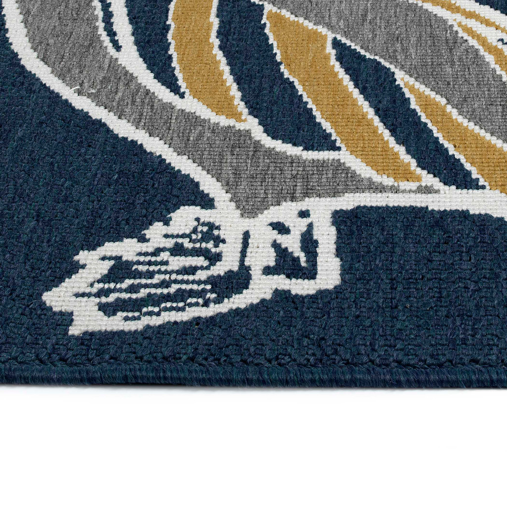 Navy Blue Pelican Flock Indoor-Outdoor Rug edge