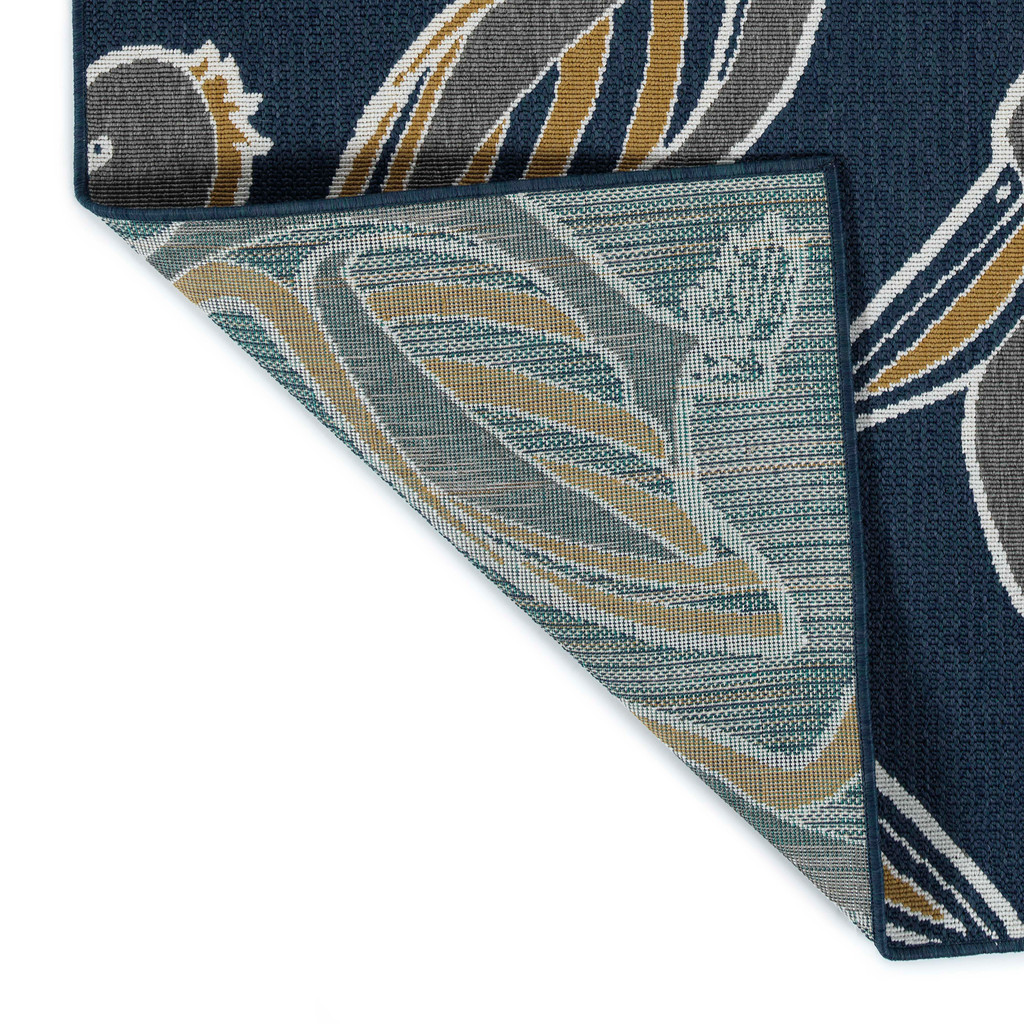 Navy Blue Pelican Flock Indoor-Outdoor Rug backing