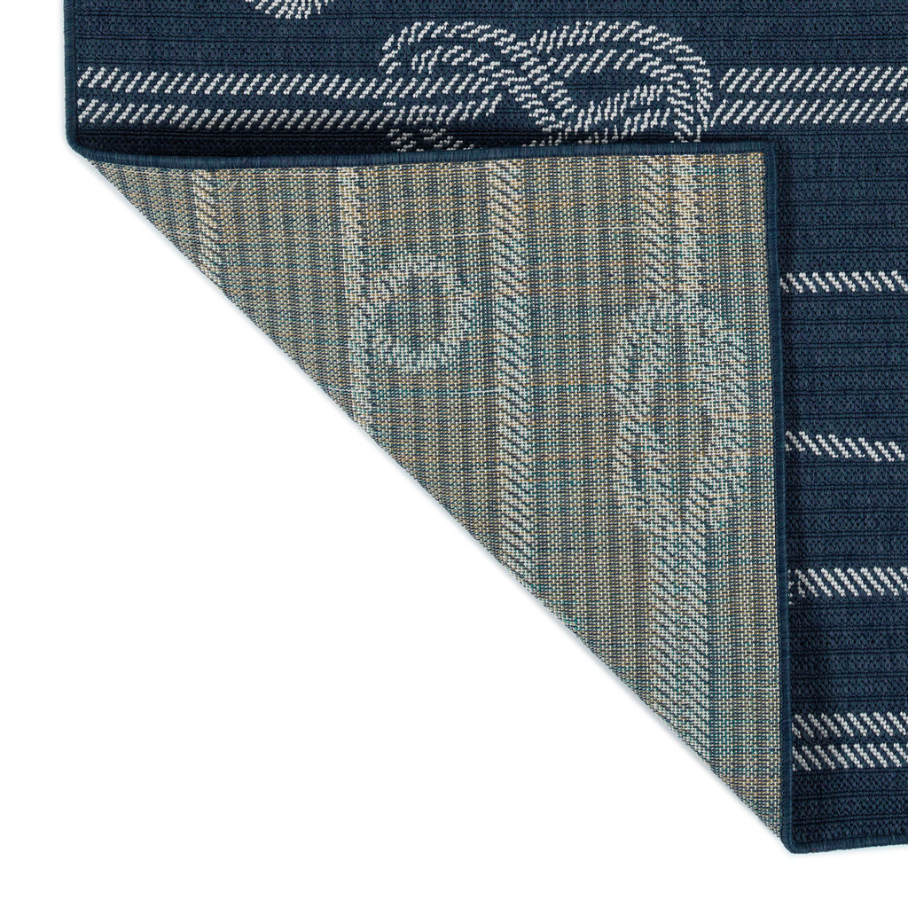 Navy Blue Tied Up in Knots Rug backing