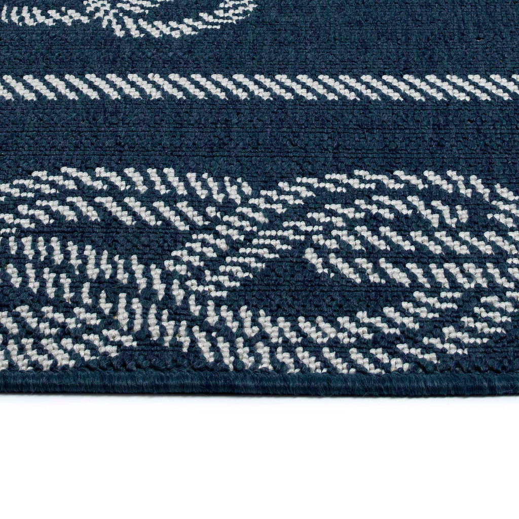 Navy Blue Tied Up in Knots Rug edge