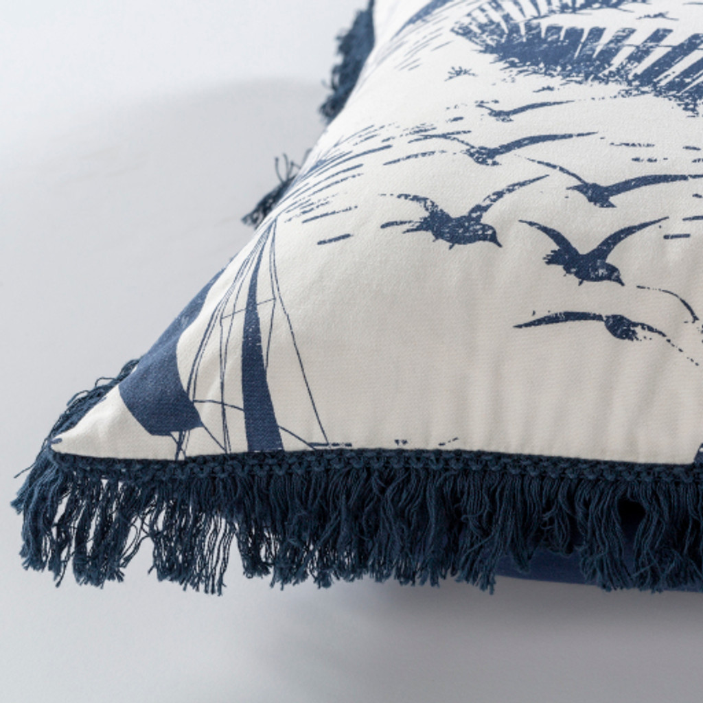Castaway Nautical Fringed 20 x 20 Pillow side view