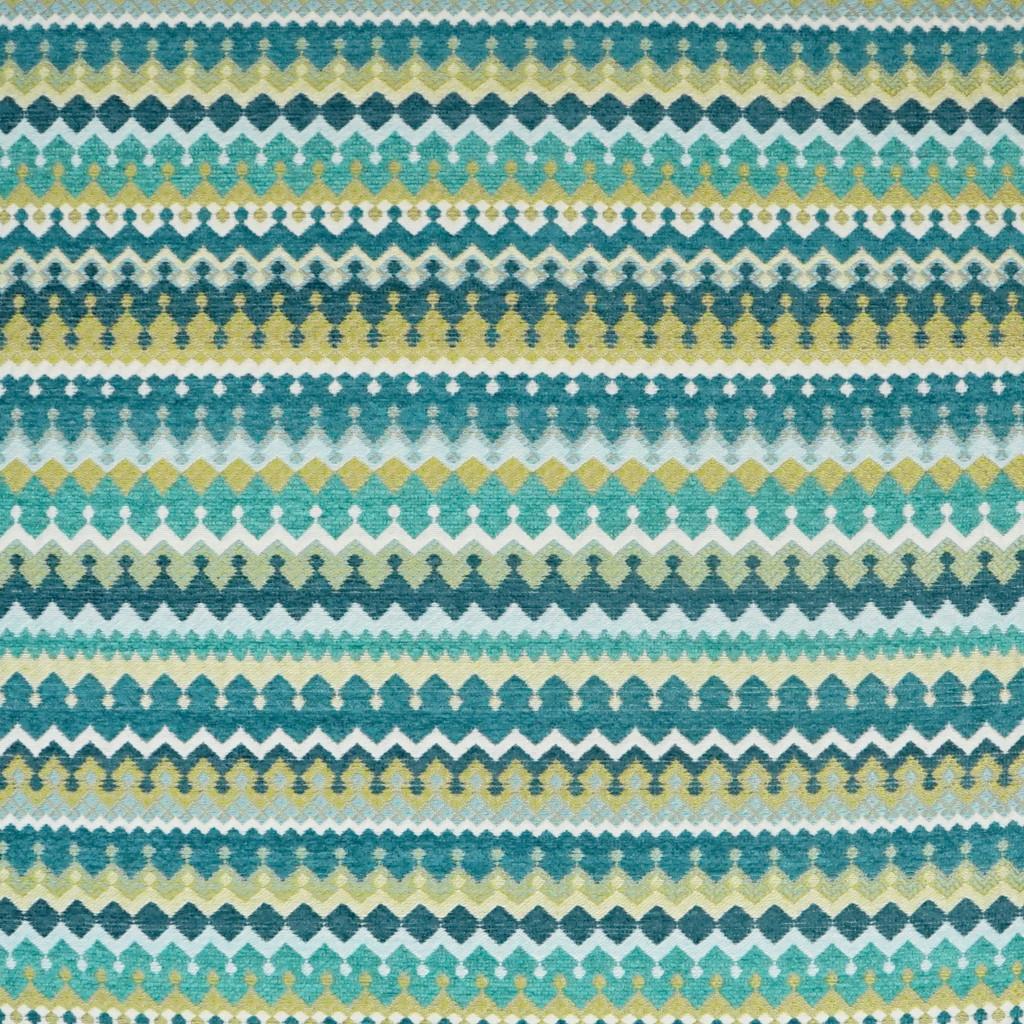Bright Peacock Stripes Luxury Coastal Pillow close up fabric