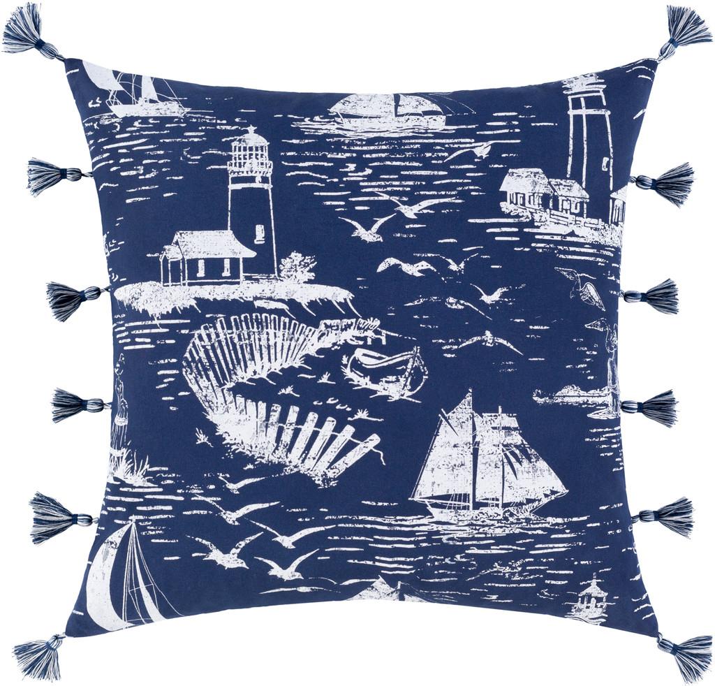 Navy Castaway Nautical Tasseled 20 x 20 Pillow