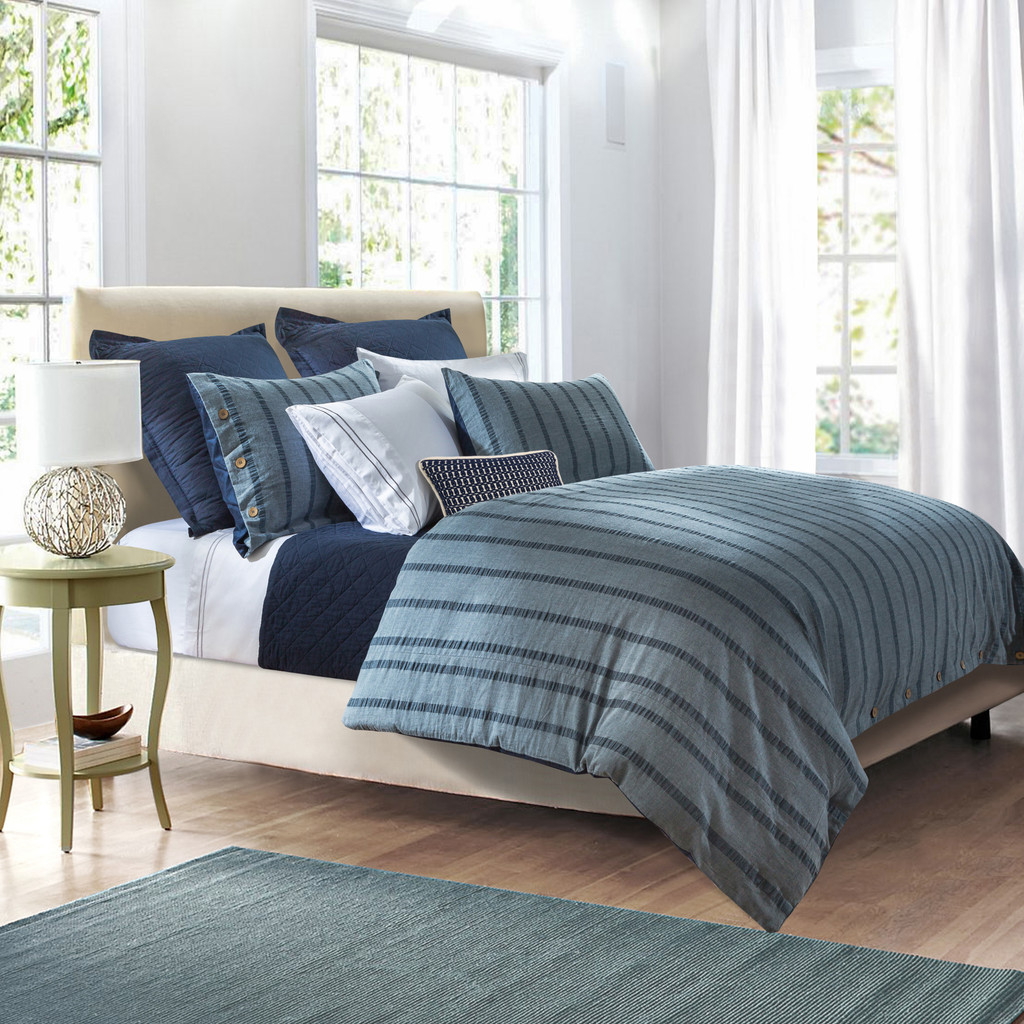 3 Pc Harper Stripe Duvet Set, Super Queen Blue