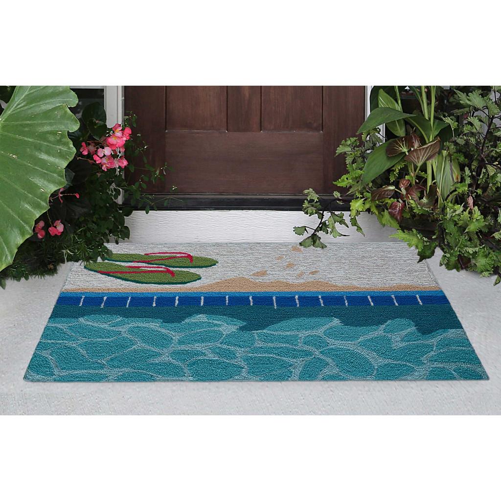 Poolside Flip Flop Accent Rug front door view
